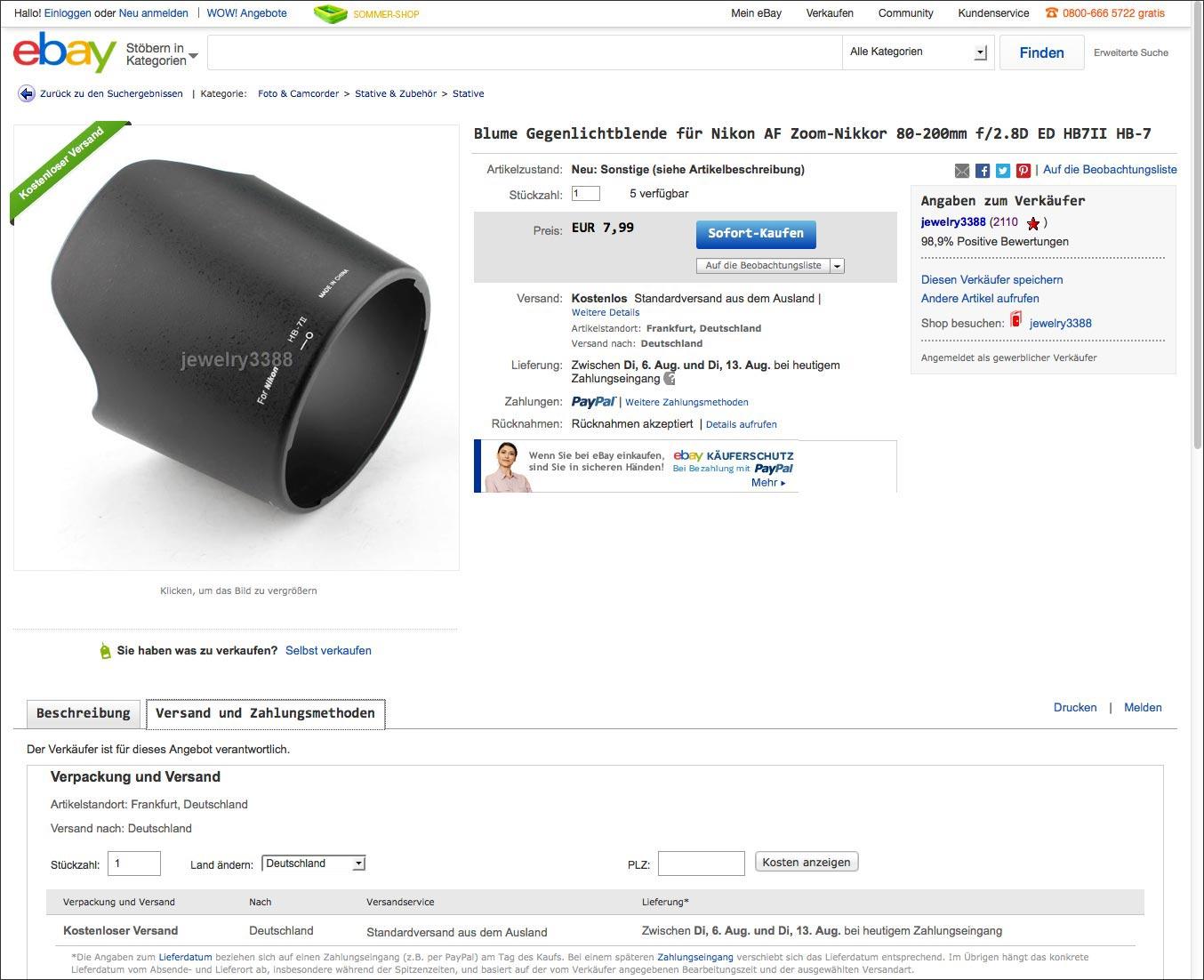 Alternative Gegenlichtblende HB7-II für das Nikon 80-200/2.8 AF-D