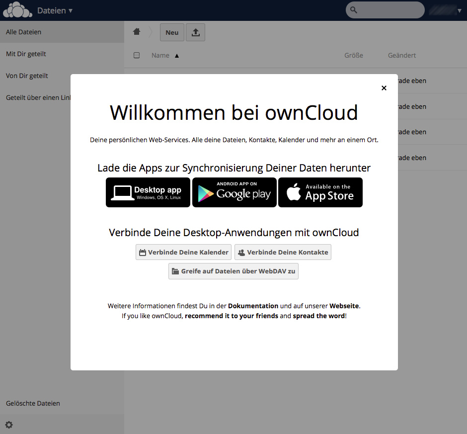 ownCloud7 Welcome-Screen
